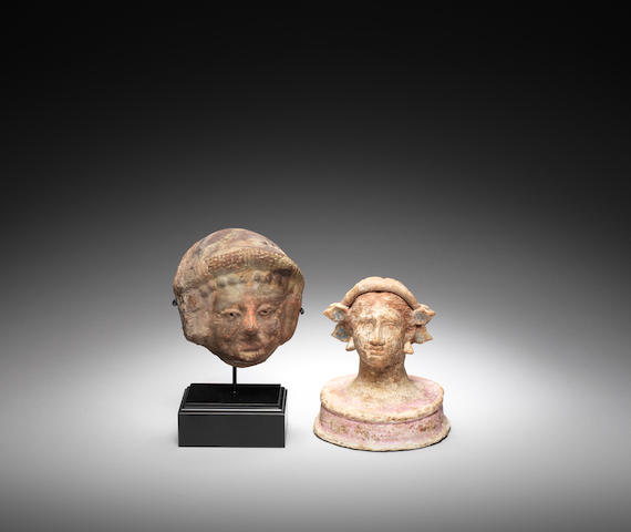 A Canosan terracotta female bust and an Hellenistic terracotta mask, 2