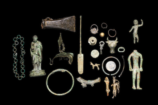 A group of bronze artefacts a lot