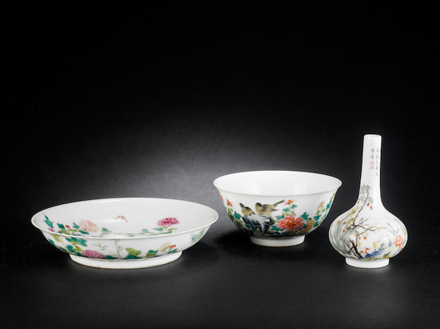 Three pieces of famille rose porcelain All three with Yongzheng four-character marks