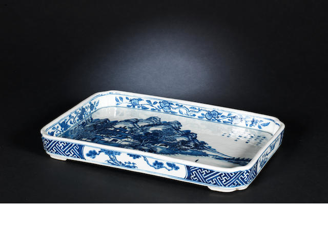 A blue and white tray (Jiaqing seal mark)