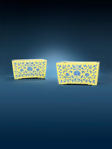 A pair of blue-enamelled yellow-ground jardinières 19th century