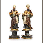A pair of polychrome-painted and gilt-highlighted figures of a saint or an Evangelist, Tyrolean/South German18th century