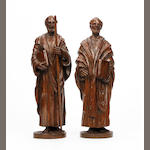 A pair of carved oak figures, Northern European19th century