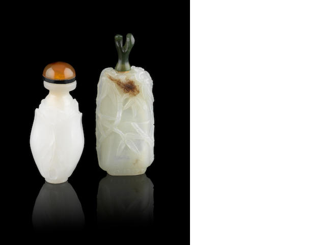 Two jade, or other, snuff bottles
