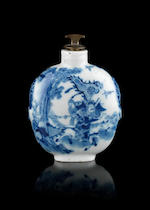 A jade squared snuff bottle and a large blue and white snuff bottle, stopper