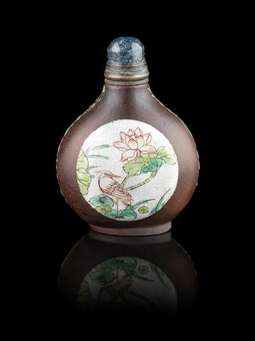 A Yixing pear-shaped snuff bottle Qianlong impressed two-character mark