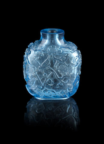 A blue glass snuff bottle Qianlong four-character mark