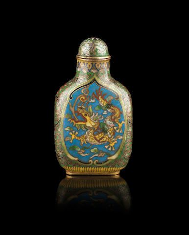 A cloisonne enamel snuff bottle; with stopper