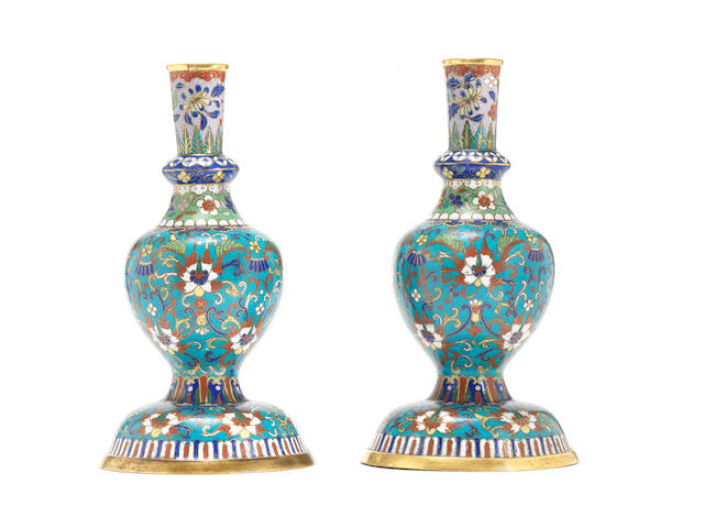 A pair of cloisonné enamel Tibetan-style bottles 18th century