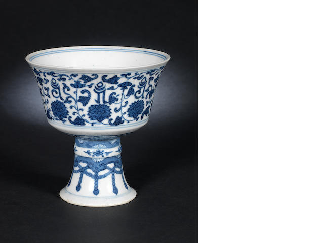 A blue and white stem cup, Daoguang mark