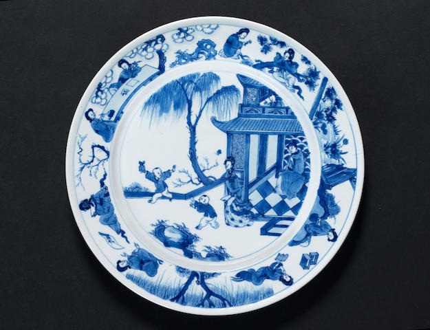 A blue and white dish Qing Dynasty