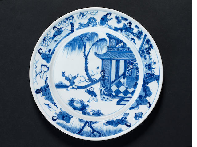 A blue and white plate, Kangxi, previously in Eumorfopoulos collection