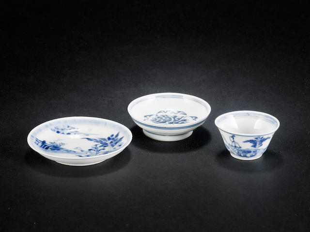 Three small, blue and white wares