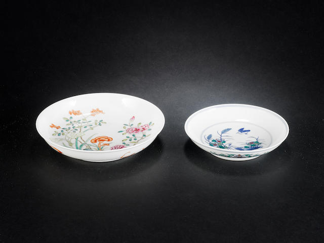 Two enamelled dishes