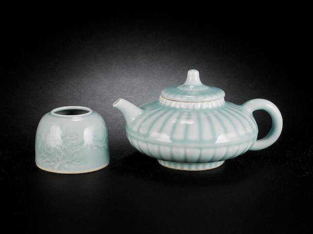 Two celadon wares Yongzheng six-character marks