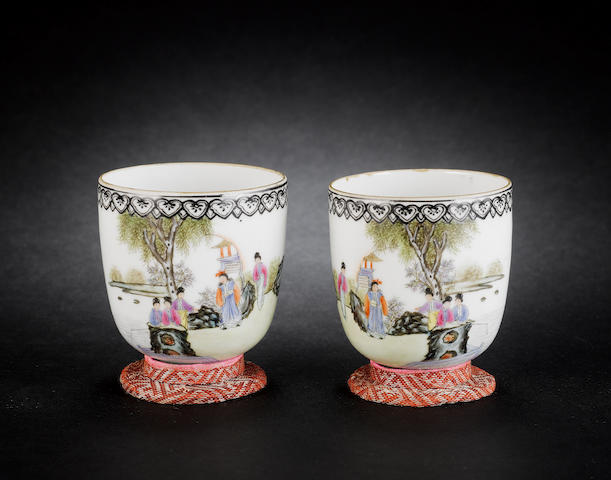 A pair of famille rose, egg-shell cups Qianlong four-character marks