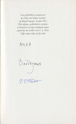 ELIOT (T.S.) JONES (DAVID) In Parenthesis, NUMBER 68 OF 750 COPIES SIGNED BY THE AUTHOR AND T.S. ELIOT, 1961