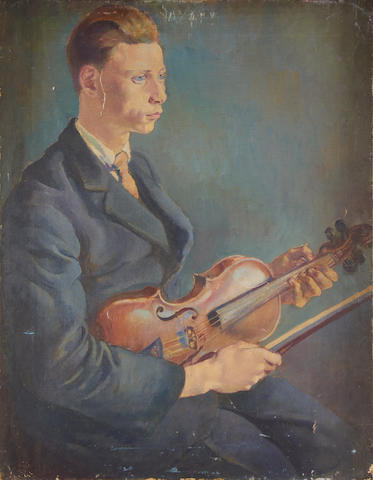 Clara Klinghoffer (British, 1900-1972) Young man with violin