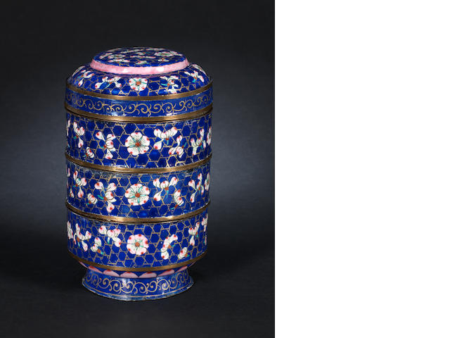 A Canton enamel tiered box and cover, 19th century