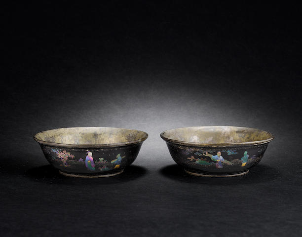 Pair of lacquered and mother of pearl bowls, Kangxi