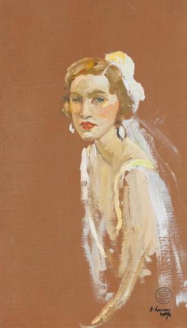 Sir John Lavery R.A., R.S.A., R.H.A. (1856-1941) Mrs. Leo D'Erlanger 50.4 x 30.2 cm. (19 2/3 x 11 7/8 in.)