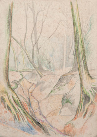 John Northcote Nash (British, 1893-1977) working sketch for a woodland scene