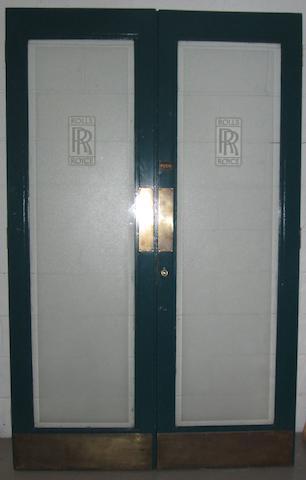 A pair of Rolls-Royce glazed office doors,