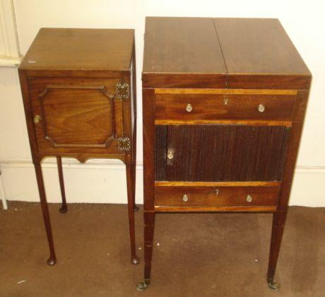 A George III mahogany and satinwood washstand, the divided hinged top enclosing a fitted interior with tambor shutter cupboard and drawer below, on square tapered legs and castors, 46cm, and a mid 18th Century style mahogany pot cupboard, enclosed by a panelled door, on club legs and pad feet, 33cm. (2)