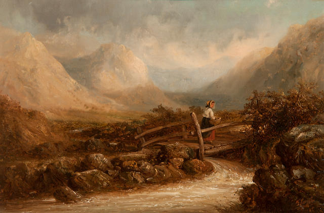 Thomas Smythe (British, 1825-1906) Girl crossing a bridge in a Highland landscape