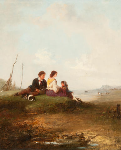 Edward Robert Smythe (British, 1810-1899) Family resting beside the coast