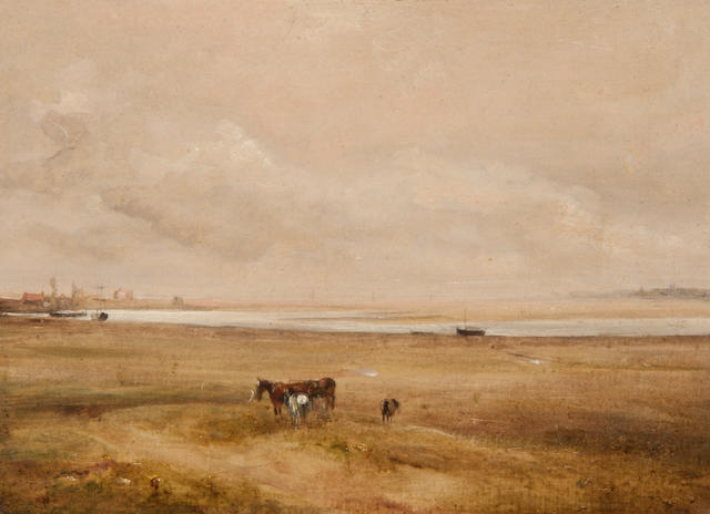 Thomas Churchyard (British, 1798-1865) Estuary landscape with horses
