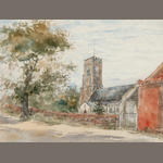 Thomas Churchyard (British, 1798-1865) Road into a town; A Suffolk Church - possibly Tunstall; a pair