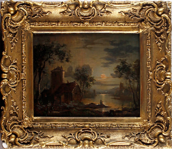 19th Century English School Moonlit scene with fisherman