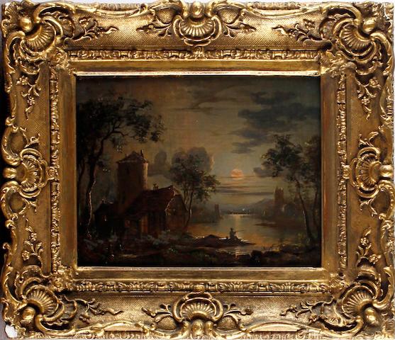 19th Century English School Moonlit scene with fisherman