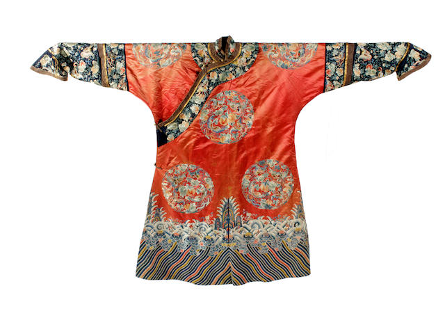 A Chinese embroidered robe, 19th century