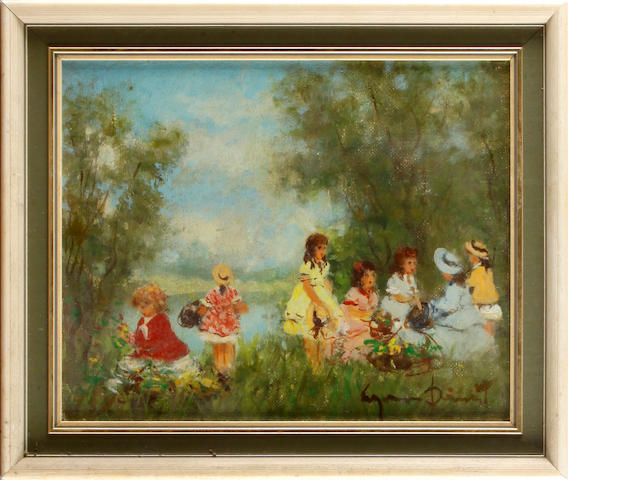 Suzanne Demarest (American, 1900-1985) Children by a lake; and companion