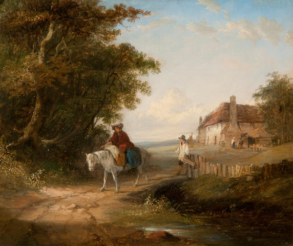 John Duvall (British, 1816-1892) Figures and horse on a country track, a cottage beyond