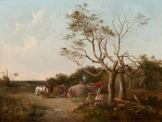 John Duvall (British, 1816-1892) Gypsy encampment