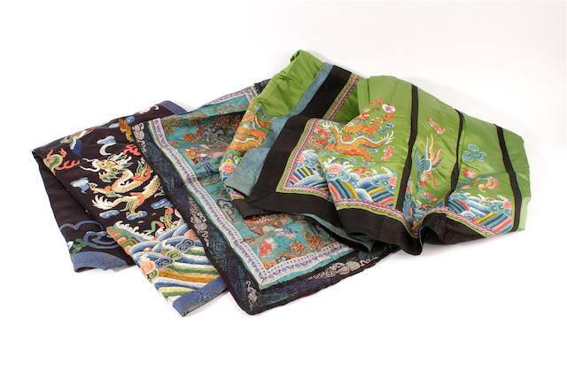 A group of Chinese embroidered silk items