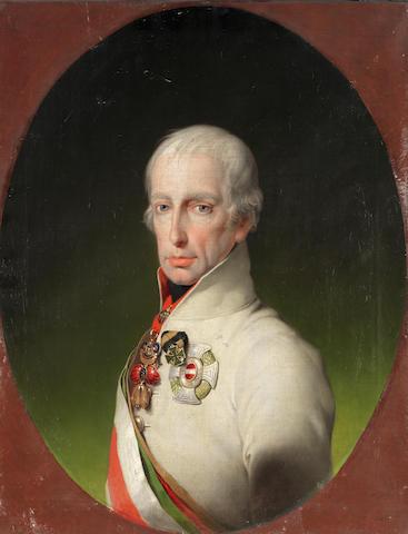 Attributed to Carl von Sales (Koblenz circa 1791-1870 Fürstenfeld) Portrait of Emperor Francis I of Austria, bust-length,