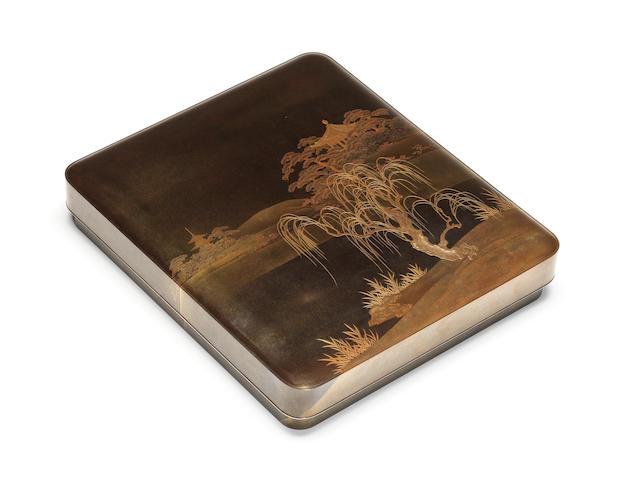 A fine gold lacquer suzuribako (writing box) and cover By Funabashi Shumin (born 1859), Meiji Period