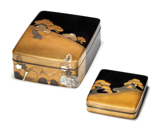 A gold and black lacquer matching set of a ryoshibako (document box) and suzuribako (writing box) and covers Rimpa style, Edo Period, 19th century