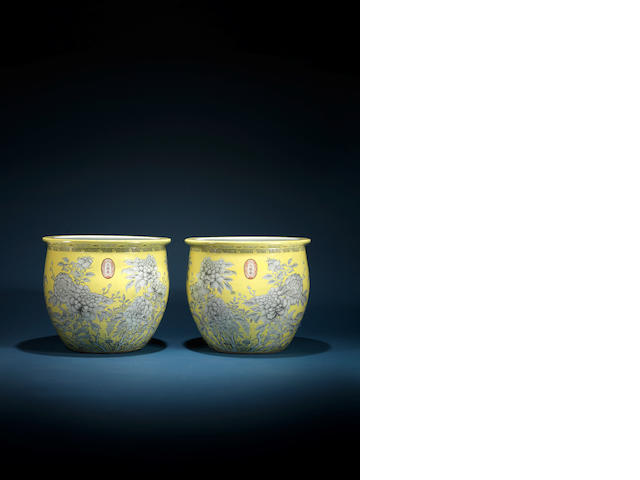 A rare and massive pair of yellow-ground 'Da ya zhai' fishbowls Dayazhai three-character marks, Guangxu