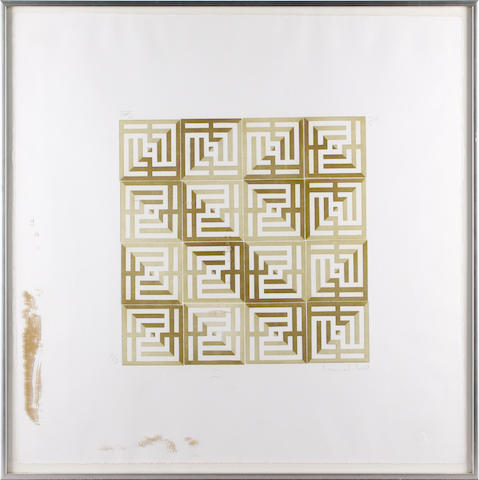 Issam el Said (1838-1988) Kufic IV Screenprint in colours, on wove, signed and numbered in pencil 24/50 in both English and Arabic, 325 X 325mm (12 3/4 x 12 3/4in)(I)