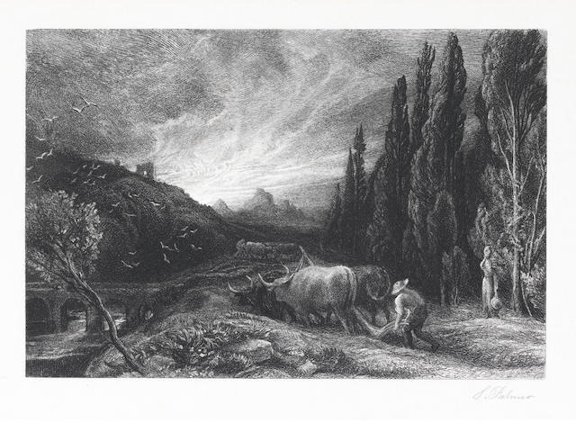 Samuel Palmer (British, 1805-1881) The Early Ploughman Etching, c.1861, the fifth ? state of nine, on wove, signed in pencil, 130 x 198mm (5 1/8 x 7 3/4in)(PL)  1200-1800 ?
