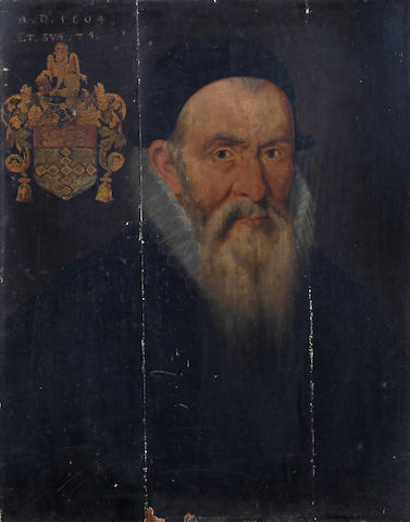 English School, 1604 A portrait of a gentleman, bust length, wearing dark cap, lace collar and black jacket, this coat of arms depicted