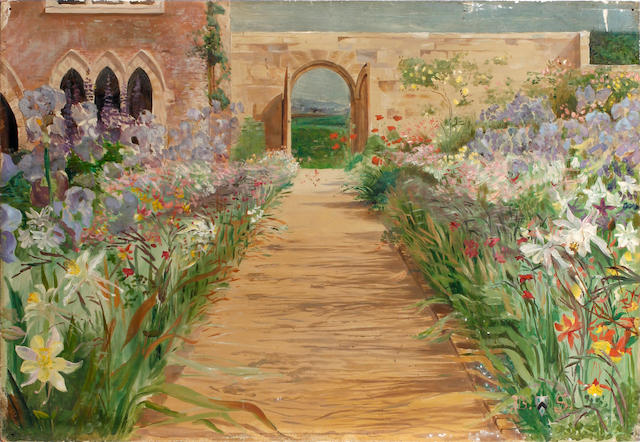 English School, 20th Century Garden scene