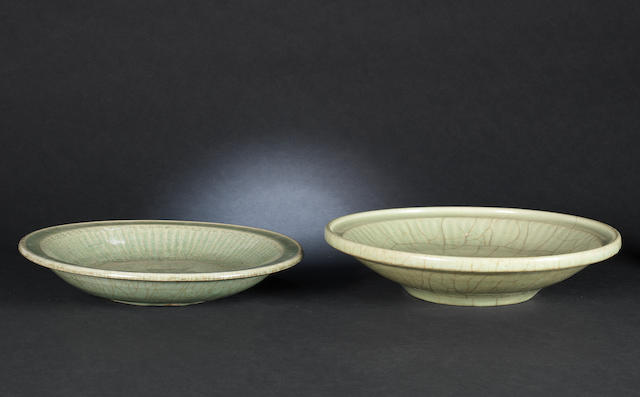 Two crackled celadon dishes Probably Ming Dynasty