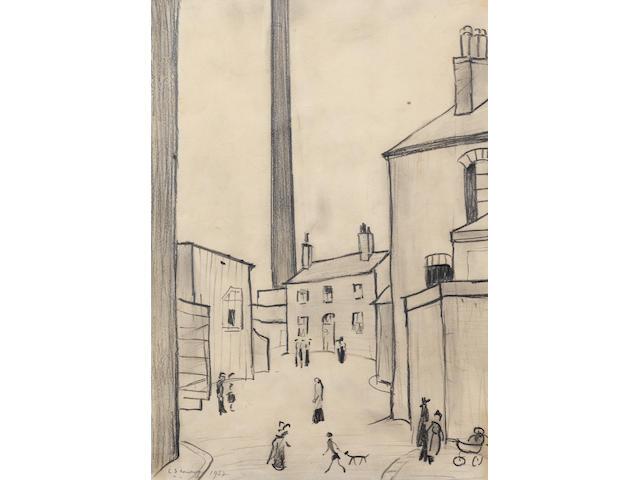 Laurence Stephen Lowry R.A. (British, 1887-1976) A Street In Droylsden 34.5 x 24.2 cm. (13.5 x 9 1/2 in.)