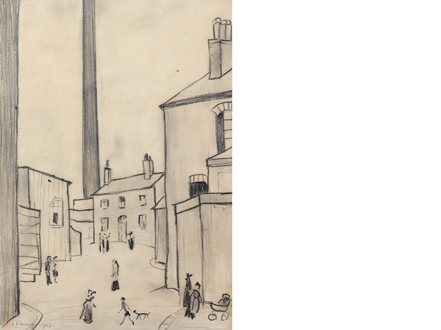 Laurence Stephen Lowry R.A. (British, 1887-1976) A Street In Droylsden 34.5 x 24.2 cm. (13.5 x 9 1/2 in.)